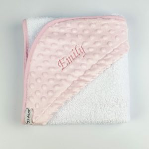 Personalised pink hooded baby towel