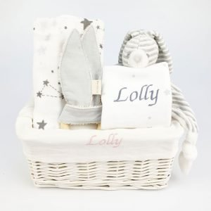 Grey feeding and teething gift basket
