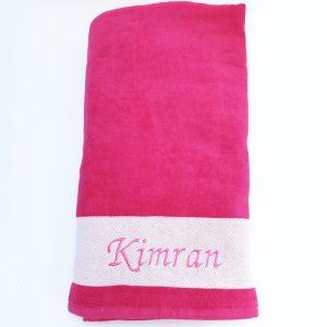 Pink personalised towel