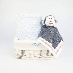Monkey and blue blanket gift basket