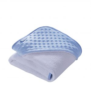 Personalised blue dimple hooded towel