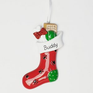 Personalised dog stocking christmas tree decoration