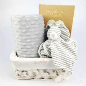 Grey bedtime gift basket